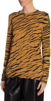 Proenza Schouler Tiger-Striped Tie-Dye Jersey Tee