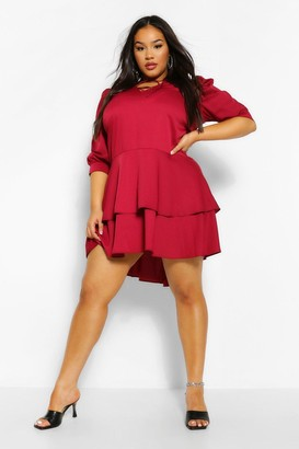 boohoo Plus Oversized Ruffle Smock Dress