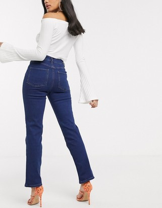 Asos DESIGN Super high rise 'sassy' cigarette jeans in mid blue
