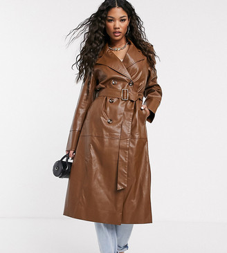 UNIQUE21 faux leather belted maxi coat-Brown
