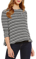 Daniel Cremieux Staci Stripe Long Sleeve Knit Top