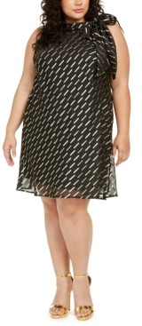 Robbie Bee Plus Size Chiffon Tie-Neck Trapeze Dress