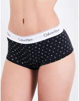 Calvin Klein Ladies Black Full Coverage Iconic Modern Cotton-Jersey Boyshort Briefs