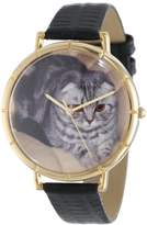 Whimsical Watches Scottish Fold Cat Black Leather and Goldtone Photo Unisex Quartz Watch with White Dial Analogue Display and Multicolour Leather Strap N-0120031