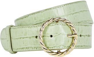 Loeffler Randall Leo Twisted Circle Croc-Embossed Belt