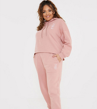 In The Style Plus x Gemma Collins motif trackies in pink