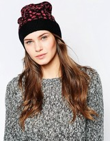 French Connection Electric Leopard Beanie Hat