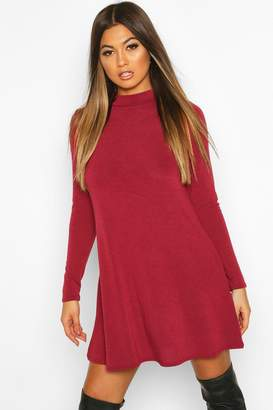 boohoo Soft Knit roll/polo neck Long Sleeve Swing Dress