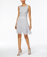 Connected Petite Sequined Lace A-Line Dress