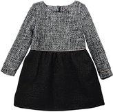 Imoga Sophia Long-Sleeve Tweed A-Line Dress, Black/White, Size 8-14