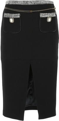 Elisabetta Franchi Tweed Trim Pencil Skirt