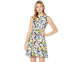 Taylor Dresses Women's Cap Sleeve Abstract Print fit and Flare Dress
