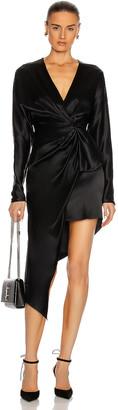 Cushnie Asymmetric Long Sleeve V Neck Dress in Black | FWRD