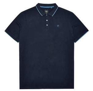 Mens Big & Tall Navy Polo Shirt With Contrast Under-Collar
