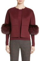Michael Kors Women's Genuine Fox Fur Trim Wool, Angora & Cashgora Jacket