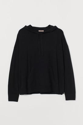 H&M H&M+ Fine-knit Hooded Sweater - Black