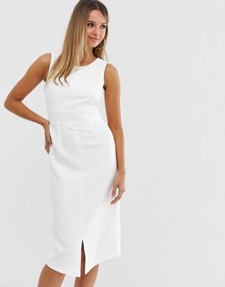 Closet London Closet front slit tie back dress-White
