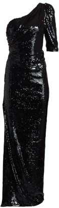 Rachel Gilbert Val Liquid Drape One-Shoulder Sequin Gown