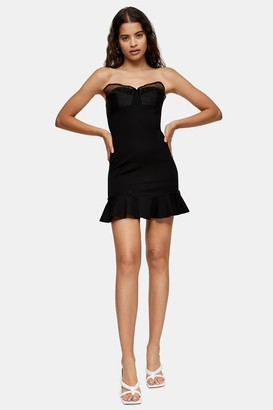 Topshop Womens Black Ponte Organza Frill Mini Dress - Black