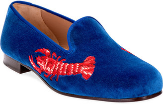 Stubbs And Wootton Lobster Embroidered Velvet Slipper Loafers