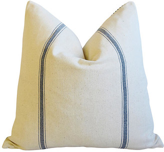 One Kings Lane Vintage French Blue Striped & Ticking Pillow