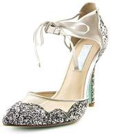 Betsey Johnson Stela Women Pointed Toe Synthetic Silver Heels.