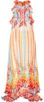 Temperley London Nymph Printed Silk-Chiffon Halterneck Gown