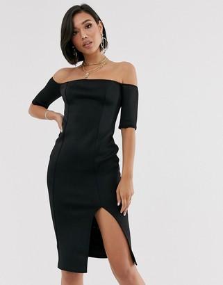 Bardot Asos Design ASOS DESIGN scuba midi bodycon dress