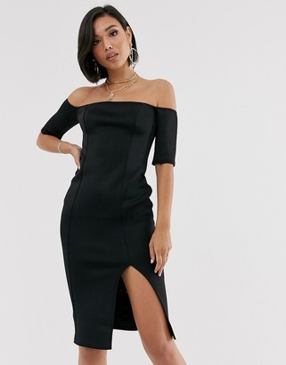 ASOS DESIGN bardot scuba midi bodycon dress