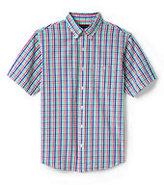 Classic Men's Traditional Fit Short Sleeve Seersucker Shirt-Royal Blue Dot Print