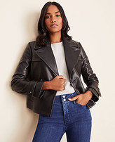 Ann Taylor Petite Faux Leather Short Trench Coat