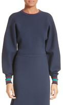 Tibi Women's Stripe Trim Crop Sweatshirt