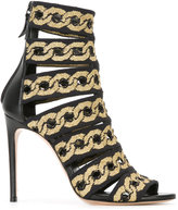 Casadei chain print open toe sandals - women - Leather/Nappa Leather - 36