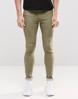 Asos Denim Meggings In Khaki