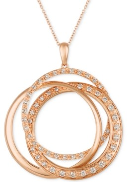 "LeVian Le Vian Strawberry & Nude Diamond Interlocking Rings 18"" Pendant Necklace (1 ct. t.w.) in 14k Rose, Yellow or White Gold"