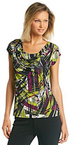 Chelsea & Theodore Chelsea Theodore Green Multi Print Layered-Look Top