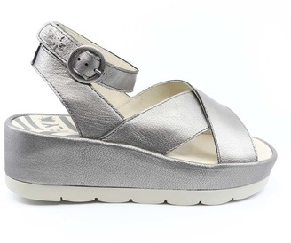 Fly London Women's Sandals 007 - Lead Borgongna BiteFly Platform Wedge Leather Sandal - Women