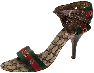 Gucci Green/Red Web And Brown Leather Eyelet Embellished Ankle Strap Sandals Size 37.5
