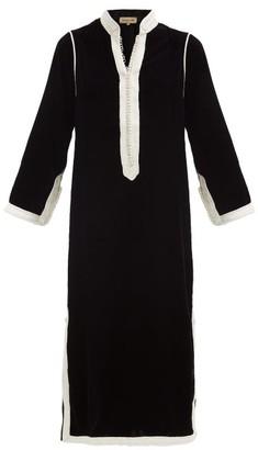 Muzungu Sisters - Alia Woven-trim Velvet Tunic Dress - Black White