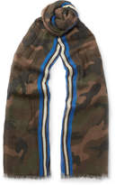 Valentino - Fringed Camouflage-print Modal, Cashmere And Silk-blend Scarf