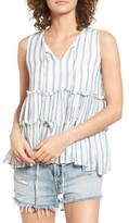 Moon River Women's Stripe Ruffle Tank