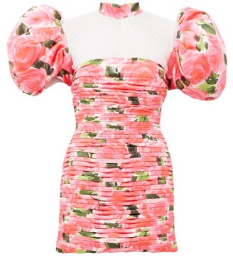 Richard Quinn Puff-sleeve Rose-print Pleated Satin Dress - Pink