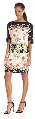 Julian Taylor Women's Color Blocked Floral Printed Shift Dress