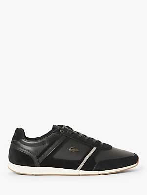 Lacoste Menerva Suede Leather Trainers, Black/Khaki