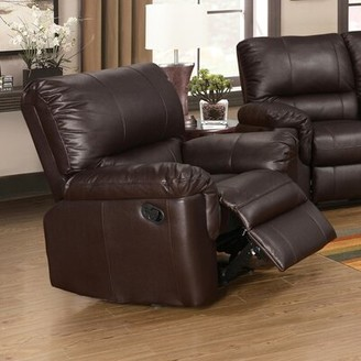 Wildon Home Ramon Manual Recliner Upholstery: Brown Faux Leather