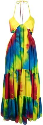 Alexandre Vauthier Tie Dye-Print Silk Maxi Dress