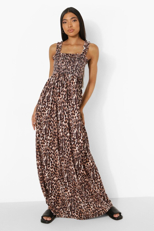 Thumbnail for your product : boohoo Tall Shirred Ruffle Strap Leopard Maxi Dress