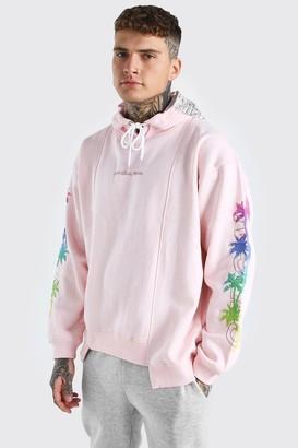 boohoo Mens Pink Oversized Spliced Hem Palm Sleeve Print Hoodie, Pink