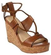 Jimmy Choo Nelson 100 Vachetta Leather Cork Wedge Sandal.