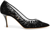 Rupert Sanderson Sybil velvet and mesh pumps